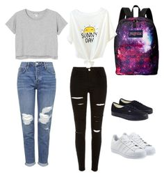 """back to school from break"" by aricari1301 ❤ liked on Polyvore featuring JanSport, Monki, Topshop, Vans, adidas Originals, women's clothing, women, female, woman and misses"