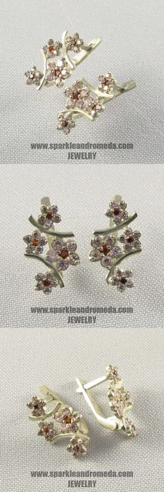 Sterling 925 silver earrings with 2 round 2 mm and 6 round 1,5 mm red almandine color,  10 round 3 mm and 30 round 1,5 mm pink morganite color cubic zirconia gemstones.