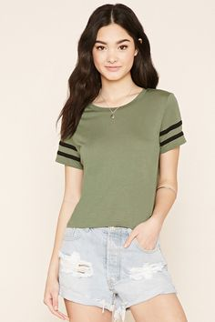 Style Deals - A knit tee featuring varsity-striped short sleeves and ribbed trim.