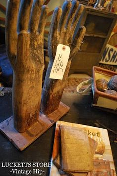 wooden antique glove molds