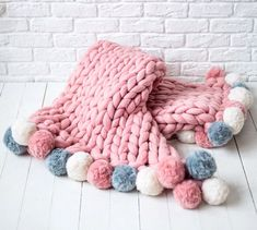 Excited to share this item from my shop: Pink Pom Poms Chunky knit blanket, giant knit blanket, cozy throw blanket, merino wool blanket, chunky knit throw. Gift For Mom Giant Knit Blanket, Chunky Blanket, Weighted Blanket, Chunky Knit Throw, Chunky Wool, Knitted Blankets, Merino Wool Blanket, Arm Knitting, Giant Knitting