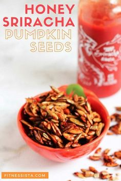 These sriracha pumpkin seeds have a kick of spice, a burst of bright lime flavor, and make the perfect healthy, crunchy snack. A delicious and healthy portable snack recipes. A perfect way to switch up the usual pumpkin seeds. | Healthy Snacks | The Fitnessista | Vegetarian Recipes Easy, Delicious Vegan Recipes, Snack Recipes, Healthy Recipes, Healthy Snack Options, Healthy Snacks, Sriracha, Pumpkin Seed Recipes, Fall Snacks