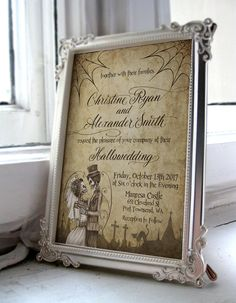 Halloween Wedding Invitation With Skeleton Bride And Groom Perfect For Those Dreadfully In Love