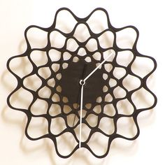 embroidery black - handmade wooden wall clock in stock: $61