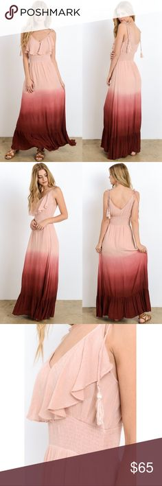 CHEYENNE dip dye tassel maxi - DUSTY ROSE Gorgeous maxi. Soft & flowy. PRICE FIRM Bellanblue Dresses Maxi