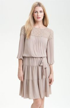 BCBGMAXAZRIA Lace Yoke Peasant Dress