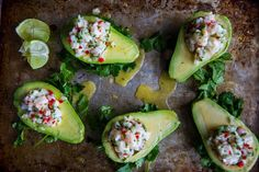 Shrimp Ceviche Stuffed Avocados http://heatherchristo.com/cooks/2015/03/24/shrimp-ceviche-stuffed-avocados/