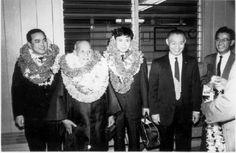 Morihei Ueshiba arrives at Honolulu Airport in 1961 with Koichi Tohei and Nobuyoshi Tamura