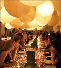 Love the paper lanterns closely together for an intimate dinner party