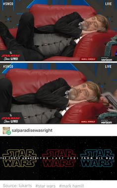Star Wars humor never gets old.<<< he looks like he's waking up in heaven.