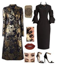 black n gold by cheyenne-de-jongh on Polyvore featuring polyvore fashion style Roksanda Dolce&Gabbana Versace Valentino clothing