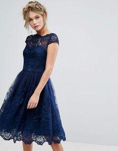 Chi Chi London premium lace midi dress with cap sleeve in navy at asos.com.  Kleider Für HochzeitsgästeAbendkleidHochzeitsgast Outfit DamenCocktailkleid  ... 3838ed6229