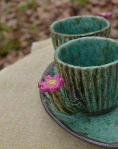 Cactus Ceramic mug with flower Blossom Succulent cup Plant Cactus Ceramic, Ceramic Cups, Rustic Ceramics, Flower Blossom, Anniversary Gifts For Couples, Wooden Plates, Deep Forest, Kitchen Witch, Breakfast Bowls