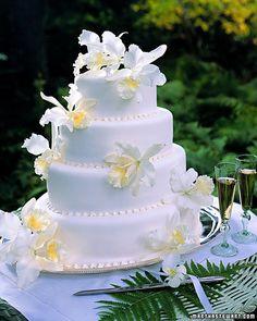 White Cattleya Orchid Cake - Martha Stewart Weddings Planning & Tools (photo: Dana Gallagher)