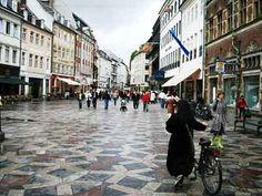 """""""Strøget""""  the pedestrian street in  Copenhagen, Denmark"""