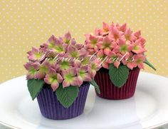 Hydrengea Cupcakes 02 by Victorious Cupcakes, via Flickr