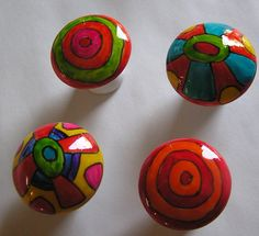 Hand painted porcelain cabinet dresser knobs pulls handles by ...
