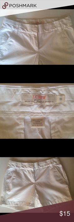 """J.Crew 5"""" white chino shorts City fit. Sits just above hip. 5"""" inseam. J. Crew Shorts"""