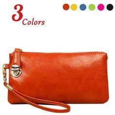 new fashion women clutch wax oil pu clutch phone packet girls small wrist women wallet bag brand desinger card holder coin bag