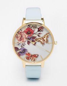 Olivia Burton | Olivia Burton Enchanted Garden Floral Face Leather Strap Oversize Dial Watch at ASOS