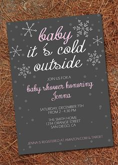 Printable Baby Shower Invitation. Winter invitation. Pink and grey