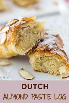 (Dutch Christmas Log) This delicious almond paste dessert is such an easy dessert idea. Perfect recipe for weekend baking with a family.This delicious almond paste dessert is such an easy dessert idea. Perfect recipe for weekend baking with a family. Desserts For A Crowd, Easy Desserts, Dessert Recipes, Dutch Desserts, Delicious Desserts, Health Desserts, Almond Pastry, Christmas Desserts, Christmas Log