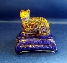 Antique 19th Century English Porcelain Staffordshire Inkwell Tabby Cat Ink Well | eBay