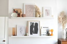 tips on styling a picture ledge Picture Frame Shelves, Frame Shelf, Picture Ledge Bedroom, Gallery Wall Shelves, Living Room Shelves, Shelves In Bedroom, Ikea Wall Shelves, Wall Shelf Decor, Ikea Photo Ledge
