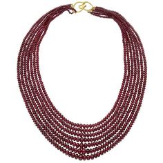 Preowned Seven Strand Ruby Bead Necklace (47,190 ILS) ❤ liked on Polyvore featuring jewelry, necklaces, multiple, hook necklace, beading necklaces, ruby bead necklace, ruby necklace and pre owned jewelry