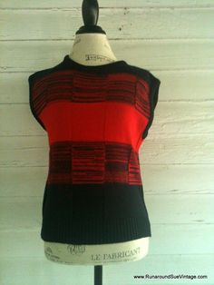 Vintage Sweater Vest  1980s Black and Red by runaroundsuevintage, $18.00