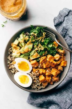 Healthy and versatile bowls that come together under a generous drizzle of addictingly creamy vegan chipotle tahini sauce. #bowl #tahini #chipotle #lunch | pinchofyum.com