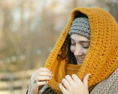 Crocheted hooded cowl