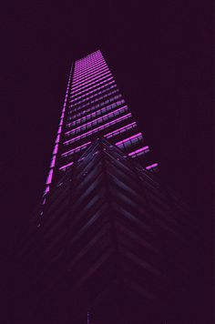 Purple Illuminated Skyscraper