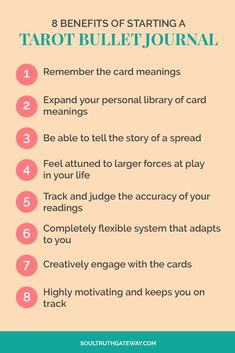 8 Benefits of Starting a Tarot Bullet Journal  | Tarot Journal Ideas | Tarot Journaling | Daily Tarot Journal  |  Tarot Learning Tips #tarot #soultruthgateway