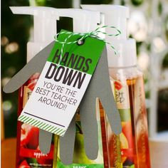 """""""Sharing over 20 teacher appreciation ideas on the blog today including this oldie but goodie. It's one of our most popular teacher gift ideas we've shared. Grab the free tag and then attach it to hand soap or lotion. Trace and cut out your child's hand and let them write their teacher a little note. Perfect! #todayontheblog @bathandbodyworks"""" Photo taken by @eighteen25girls on Instagram, pinned via the InstaPin iOS App! http://www.instapinapp.com (04/15/2015)"""