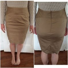 Grace Elements Tan Pencil Skirt Worn once because it's too big, and just needs an iron or steam to it. It is a Grace Elements 12 Petite Tan Pencil Skirt that has the zipper in the back and a slight slit in the back (shown in pictures). Please make an offer or buy if interested. Grace Elements Skirts Pencil
