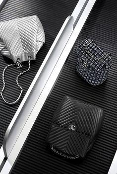 рюкзак, твид и кожа ягненка-черный и серебристый - CHANEL ШАНЕЛЬ