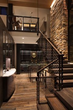 Breathtaking contemporary mountain home in Steamboat Springs - Style Architectural Contemporary Interior Design, Modern House Design, Interior Design Wall, Living Room Ideas Modern Contemporary, Modern Stairs Design, Contemporary Furniture, Contemporary Style, Stone Interior, Contemporary Stairs