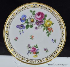 """19thC F M Fischer Mieg Colorful Floral Reticulated 9 1 8"""" Plate Old Vienna HP 