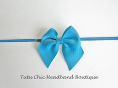 Turquoise bow Headband: baby headbands, newborn headband, infant headband, toddler headband, childrens headband