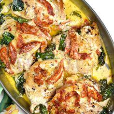 CROCKPOT TUSCAN CHICKEN Crockpot Chicken Healthy, Crockpot Recipes, Healthy Recipes, Tuscan Chicken, Mediterranean Chicken, Turkey Recipes, Dinner Recipes, Crockpot Stuffing, Clean Eating Recipes