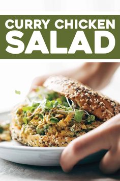 This Curry Chicken Salad is super clean and SO delicious. Loaded with spiced chicken, golden raisins, pistachios, herbs, and Greek yogurt + olive oil as a stand-in for mayo. #chickensalad #curry #mealprep Indian Food Recipes, Healthy Dinner Recipes, New Recipes, Salad Recipes, Cooking Recipes, Detox Recipes, Kitchen Recipes, Clean Recipes, Lunch Recipes