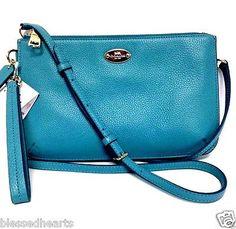 COACH Leather Purse Lyla Double Zip Crossbody Clutch Blue 53157 Authentic