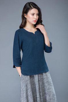 5c4b94968c5 Blue linen top women's blouse short tops C1046 Bandana Scarf, 3 4 Sleeve  Shirt,