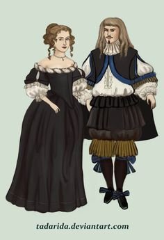 1660 .:2:.In 1660s dresses have wide necklines, puffy sleeves and long, pointed bodices (and they're really simple in comparision with the clothes of men). Hair is worn in hurluberlu style. by Tadarida.deviantart.com on @DeviantArt