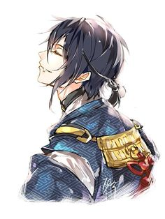Discovered by ad astra. Find images and videos about touken ranbu and mikazuki munechika on We Heart It - the app to get lost in what you love. Touken Ranbu Mikazuki, Mutsunokami Yoshiyuki, Kaito Shion, Boy Illustration, Manga Boy, Anime Boys, Handsome Anime Guys, Bishounen, Drawing Reference Poses