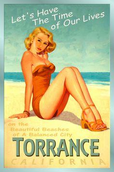 TORRANCE California New Original Poster Miley Cyrus Beach Pin Up Art Print 241 #PinUp