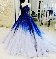 Buy Ombre Ball Gown Royal Blue Prom Dresses With Appliques, Long V Neck Quinceanera Dresses online.Shop short long ombre prom, homecoming, bridesmaid evening dresses at Couture Candy Cocktail party dresses, formal ball gowns in ombre colors. Royal Blue Prom Dresses, Blue Ball Gowns, Pretty Prom Dresses, Quince Dresses, 15 Dresses, Ball Dresses, Cute Dresses, Beautiful Dresses, Pageant Dresses