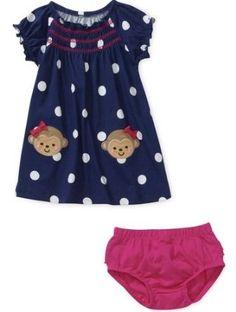 9358590f5594 Child of Mine by Carters Newborn Girls' 2 Piece Monkey Dress and Bloomer Set