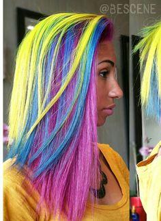 Neon blue purple rainbow dyed hair color